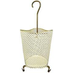 Cool Perforated Metal Patinated Brass Midcentury Umbrella Stand Mategot Artimeta