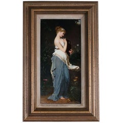 Antique Neoclassical KPM Hand-Painted Porcelain Plaque of Woman, 19th Century