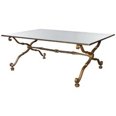 Vintage Gilt Wrought Iron and Mirrored Coffee Table