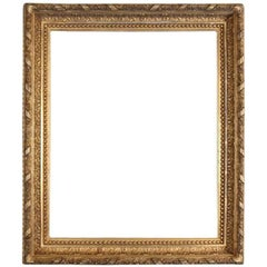 Antique Carved Foliate and Beaded Giltwood Frame, 19th Century