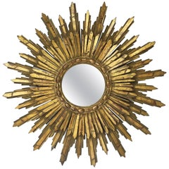 French Gilt Sunburst or Starburst Mirror