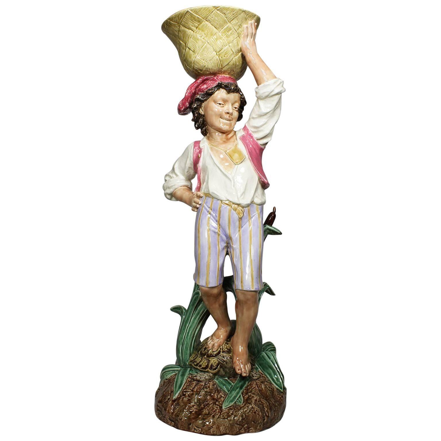 19th Century Majolica Figural Jardinière by Henri Giraud, Mark for Choisy-Le Roy