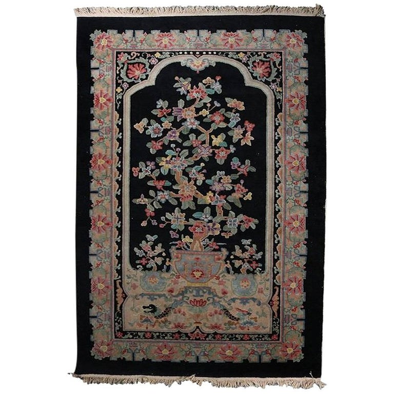 Antique Chinese Hand Knotted Nichols Floral Bonsai Carpet