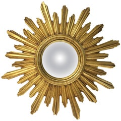 French Gilt Sunburst or Starburst Convex Mirror