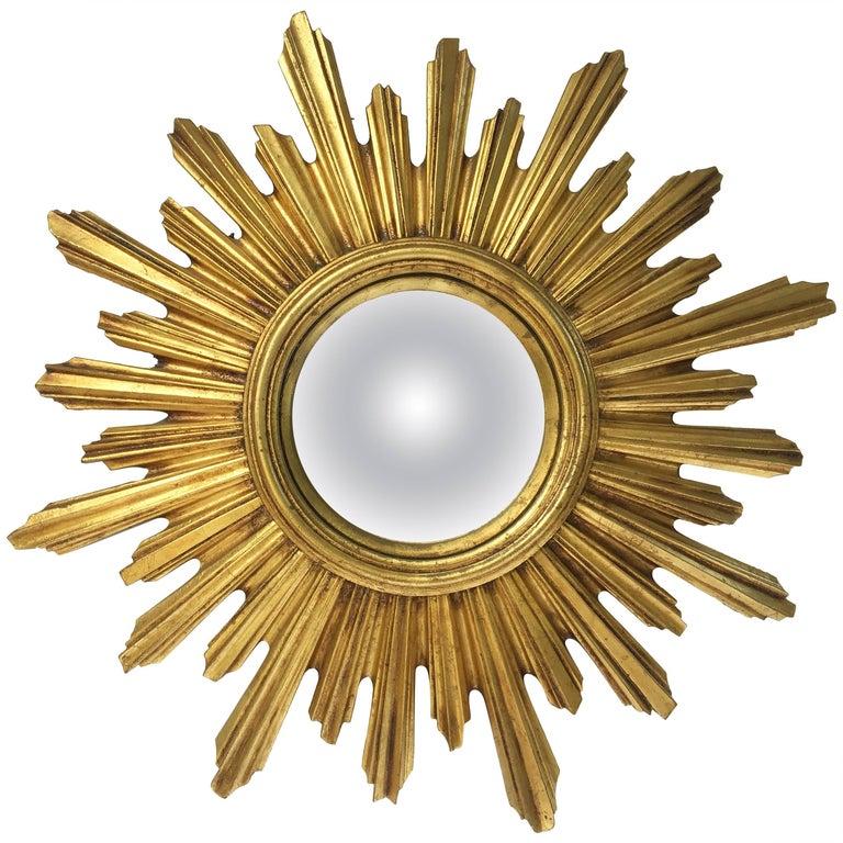 French Gilt Sunburst or Starburst Convex Mirror (Diameter 21 1/4)