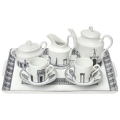 "Italian Piero Fornasetti Porcelain Rare Tea/Coffee Set Titled ""Architettura"""