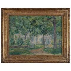 Antique Impressionist Oil on Canvas Landscape in Newcomb-Macklin Frame, Signed