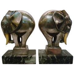 Art Deco Bronze Elephant Bookends Signed G. H. Laurent, France, 1920s