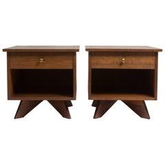 Pair of George Nakashima Walnut Bedside Tables, Mfg. Widdicomb