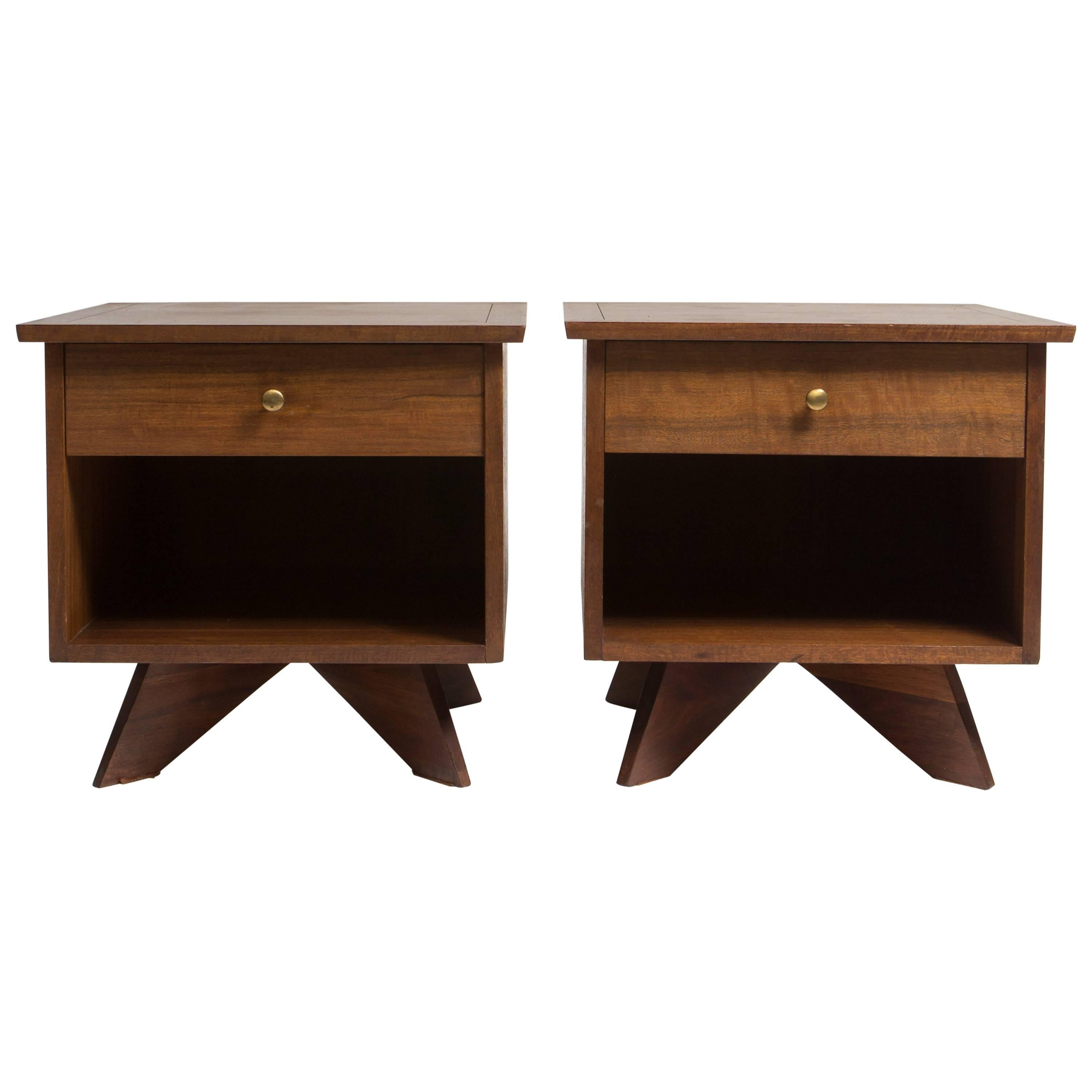 Pair Of George Nakashima Walnut Bedside Tables, Mfg. Widdicomb