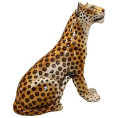 Large Hand-Painted Porcelain Leopard Sculpture by Ronzan, Italy, 1970s