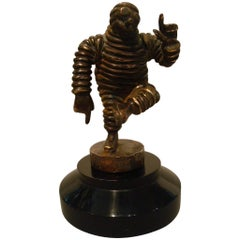 Michelin Man, Bibendum Bronze Car Mascot, Hood Ornament, Automobilia
