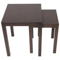 Two Bespoke Walnut Nesting Tables with Third Non Nesting Table