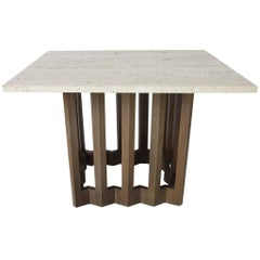 Italian MDC Marble and Sculptural Wood Based Side or End Table