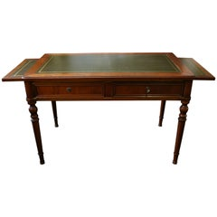Antique French Writing Table with Green Leather Top, circa 1880