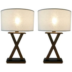 """Pair of Modern """"X"""" Base Brass & Marble Table Lamps"""