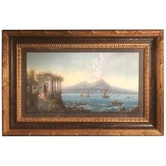 Italian Gouache of Mount Vesuvius and the Bay of Naples