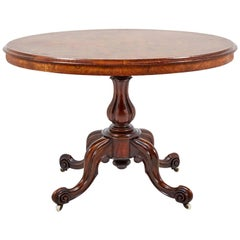 Small English Victorian Oval Tilt-Top 'Loo' Walnut Table, circa 1870