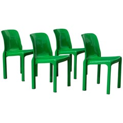 1969, Vico Magistretti for Artemide, Set of Four Apple Green Selene Chairs