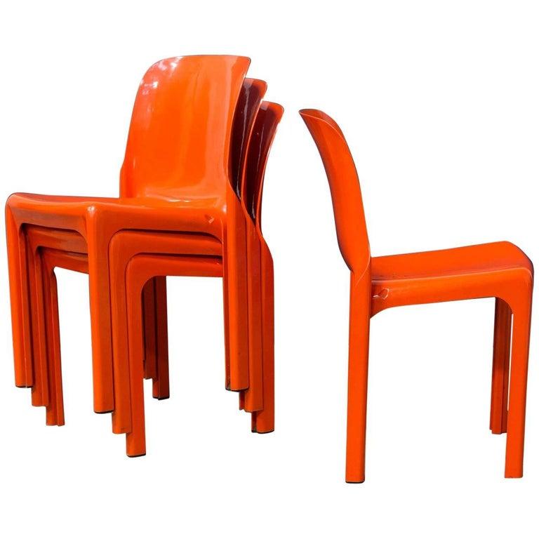 1969, Vico Magistretti for Artemide, Set of Four Orange Selene Chairs