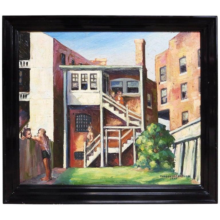 Original American Urban Scene Oil Painting by Thaddeus J. Haduch, 1947 1