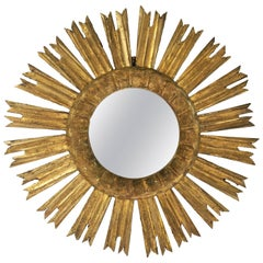 French Gilt Sunburst or Starburst Mirror, Two of Two