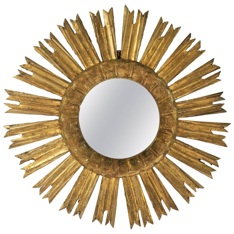 French Gilt Sunburst or Starburst Mirror (Diameter 16 1/2)