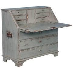 Delightful Antique Drop Front Bureau Desk with Soft Gray Paint