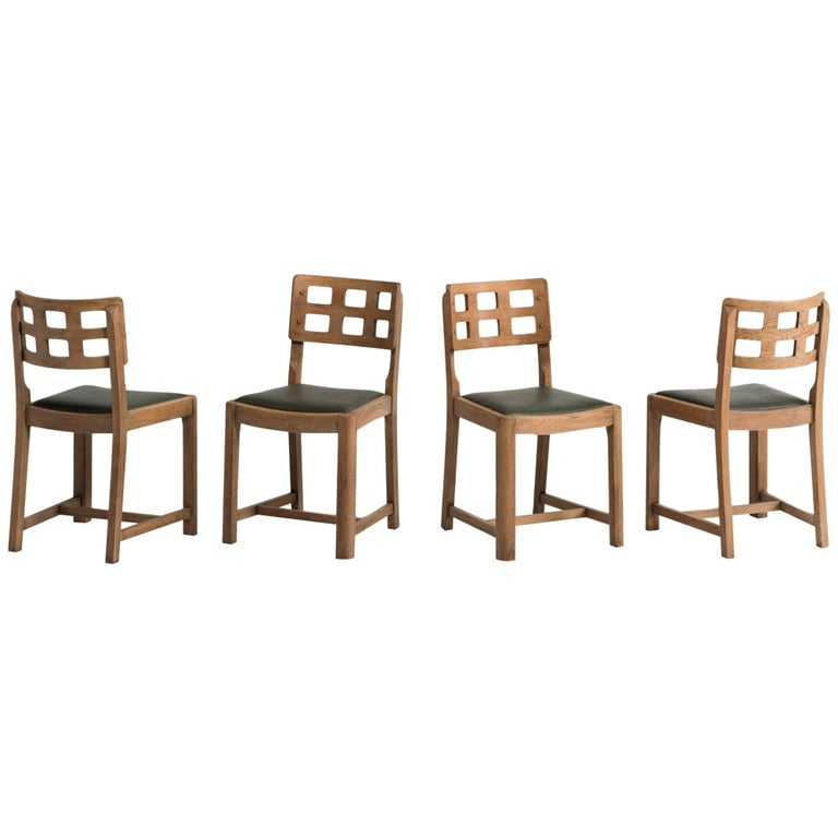 Set Of Four Oak Dining Chairs By Heals London Circa 1930 For Sale