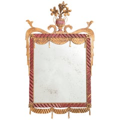 Dorothy Draper Style Red and Gilt Tole Mirror