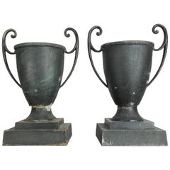 Stunning Pair of 1920s Aluminum Art Deco Handled Urns or Planters