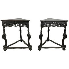 Pair of Rococo Style Triangular Carved Walnut Tables