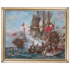 English Naval Battle, Oil Painting by Bernard Gribble
