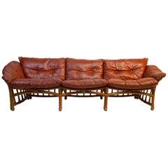 Incredible Leather, Ash and Rattan Sofa