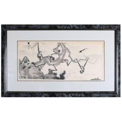 "Antique Chinese Black Work Print ""Monkeys by Seashore"", Chop Mark Signed"
