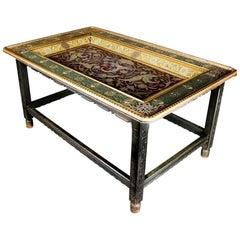 Important Antique Moorish Arabesque Enameled Silver Table, Carved Hardwood Base