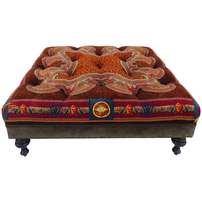 Rare Atelier Versace Tufted Upholstered Square Bench Ottoman Coffee Table For