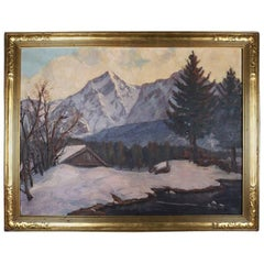 "Antique Arts & Crafts Painting ""Sugar House, Vermont"", Frame Signed Emile Gruppe"