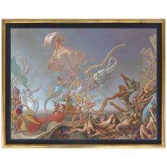 "Claudio Bogino Surrealist Oil on Canvas ""Teatro Universal"""