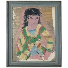 Vintage Self Portrait Painting of Young Asian Man Signed Glecin, 20th Century