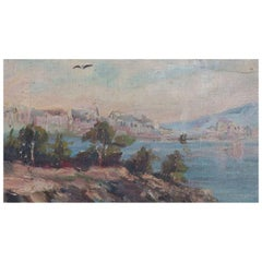 Oil on Canvas of Harbor Scene in Naples, Italy by Aristov