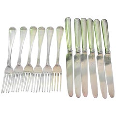 George III Silver Gilt 12-Piece Fruit Set, 6 Person Setting