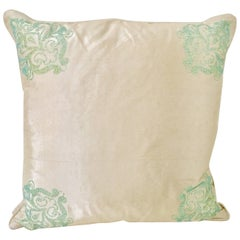 Contemporary Silk Paisley Crystal Adorned Pillow