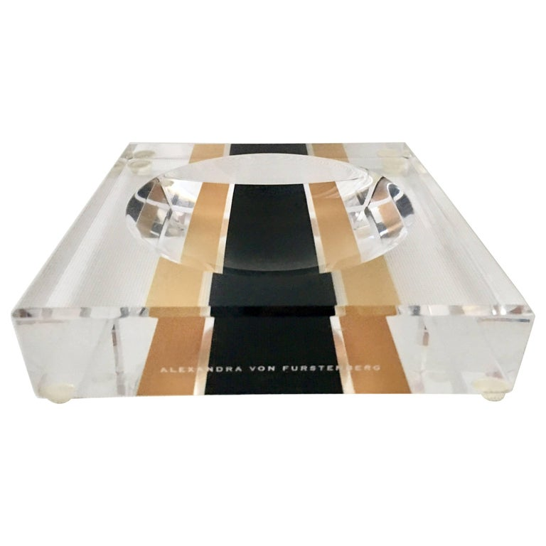"""Contemporary Lucite Optic """"Racing Stripe"""" Square & Round Bowl by AVF"""