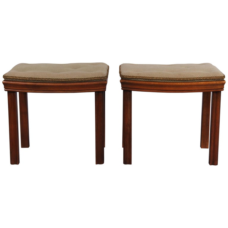 Pair of Wood and Fabrics Stools