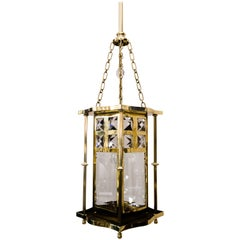 Jugendstil Lantern with Cut Glass, circa 1910s