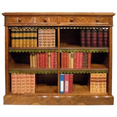 Fine Quality Burr Walnut Victorian Period Antique Open Bookcase