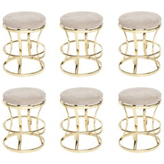 Glamorous Brass and Grey Barstools, Midcentury France, 1970s