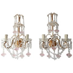French Maison Bagues Style Crystal Pink Ribbon Murano Glass Sconces