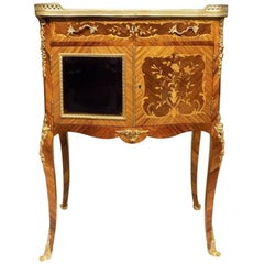Beautiful Kingwood and Marquetry Inlaid French Side Table or Cabinet